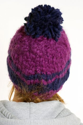 PURPLE BLUE 2 LINES POMPOM