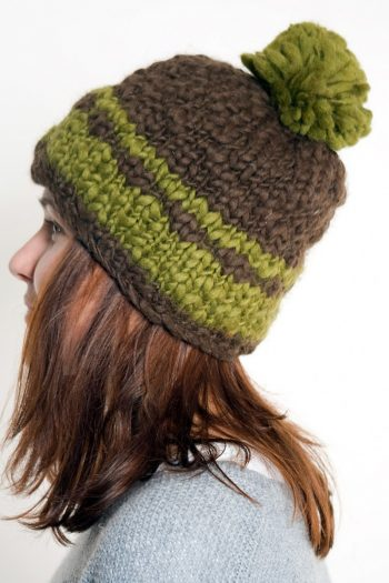 BROWN KHAKI 2 LINES POMPOM
