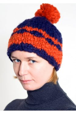 BLUE DARK ORANGE 2 LINES POMPOM