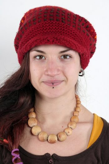 RED ORANGE SONGLINES FLOP BRIM POMPOM