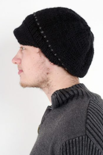 BLACK DARK GREY BRIM BERET