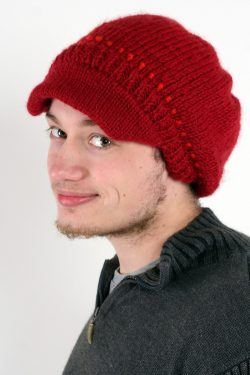 RED DARK ORANGE BRIM BERET