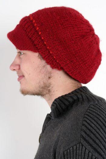 RED DARK ORANGE BRIM BERET