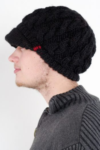 BLACK CABLE BRIM BERET