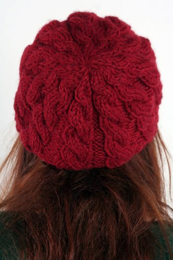 RED CABLE BRIM BERET