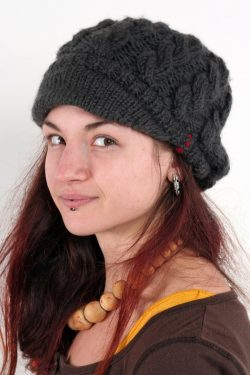 DARK GREY CABLE BRIM BERET