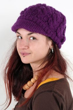 PURPLE CABLE BRIM BERET