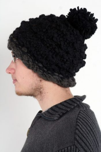 DARK GREY BLACK PLAIN POMPOM