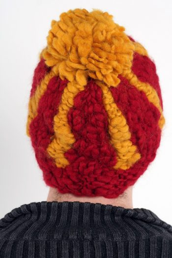 RED YELLOW VERTICAL LINES POMPOM