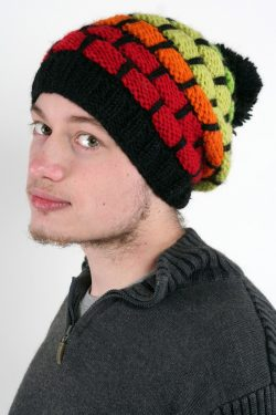 BLACK FIERY RED HONEYCOMB POMPOM