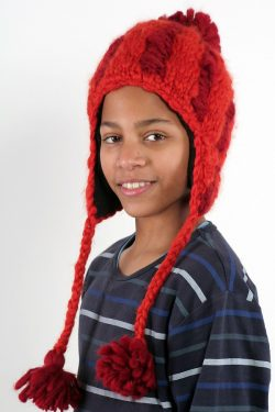 DARK ORANGE RED VERTICAL LINES SHORT EARFLAP POMPOM