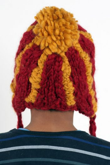 RED YELLOW VERTICAL LINES SHORT EARFLAP POMPOM