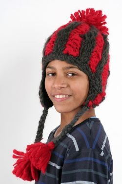 DARK GREY FIERY RED VERTICAL LINES EARFLAP SHORT POMPOM
