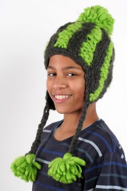 DARK GREY FLASHY GREEN VERTICAL LINES EARFLAP SHORT POMPOM