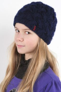 BLUE X-PATTERN SHORT BEANIE