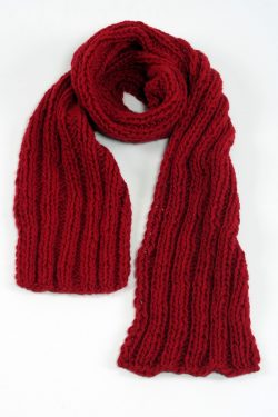 RED 2X2 PLAIN NARROW SCARVE