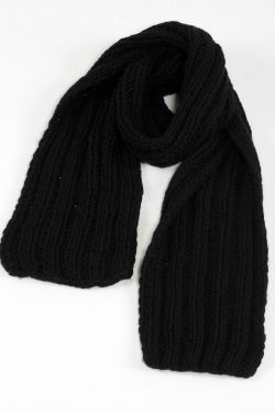 BLACK 2X2 PLAIN NARROW SCARVE