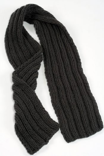 DARK GREY 2X2 PLAIN NARROW SCARVE