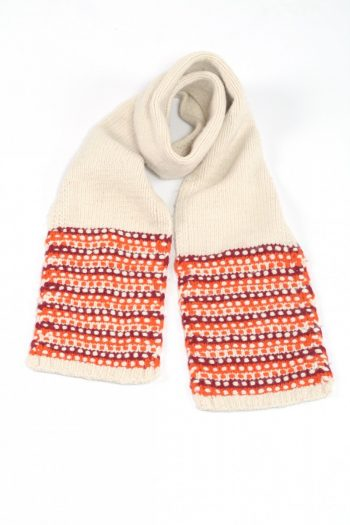 WHITE RED STEP SCARVE