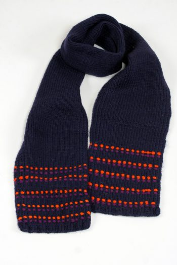 BLUE ORANGE DOT SCARF