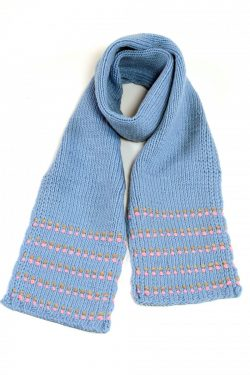LIGHT BLUE PINK DOT SCARF