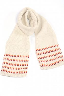 WHITE RED DOT SCARF