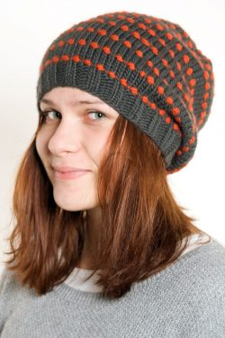DARK GREY ORANGE SPIRAL DOTS 2 FLOP