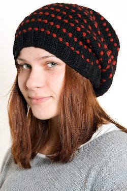 BLACK RED SPIRAL DOTS 2 FLOP
