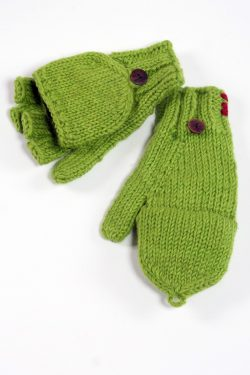 FLASHY GREEN PLAIN COVER MITTENS