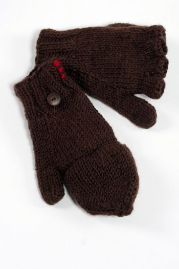 BROWN PLAIN COVER MITTENS