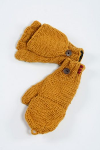 YELLOW PLAIN COVER MITTENS