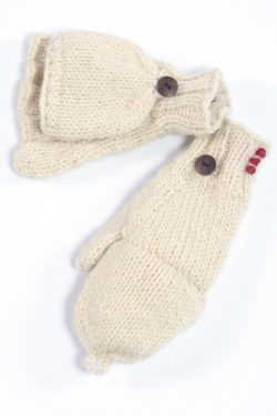 WHITE PLAIN COVER MITTENS