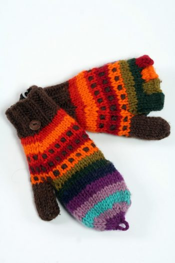 DOUBLE RAINBOW COVER MITTENS