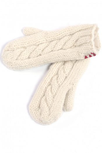 WHITE CABLE MITTENS