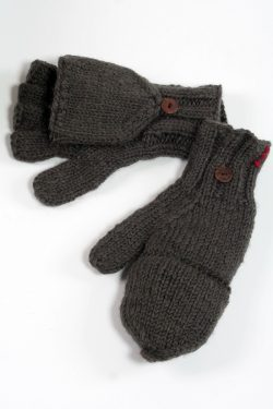 DARK GREY PLAIN COVER MITTENS