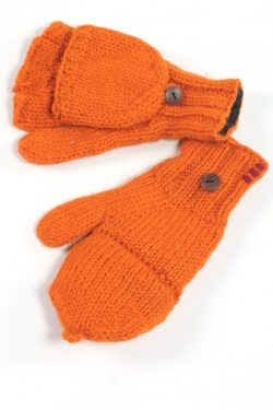 FIERY ORANGE PLAIN COVER MITTENS