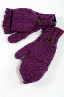 PURPLE PLAIN COVER MITTENS