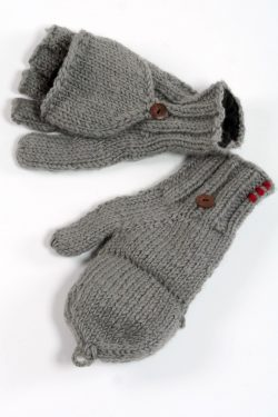 MID GREY PLAIN COVER MITTENS