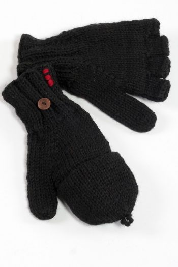 BLACK PLAIN COVER MITTENS