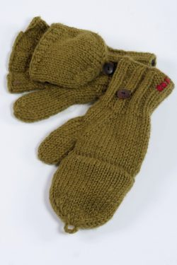 KHAKI PLAIN COVER MITTENS