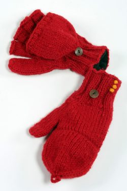 FIERY RED PLAIN COVER MITTENS