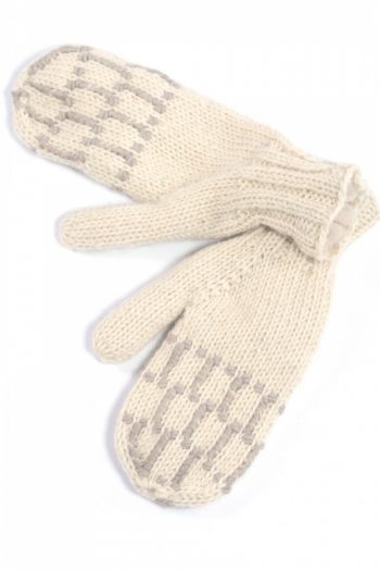WHITE LIGHT GREY SQUARE MITTENS