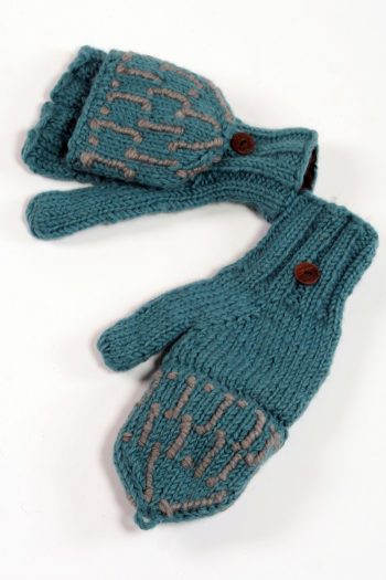 LIGHT PETROL MID GREY SQUARE COVER MITTENS