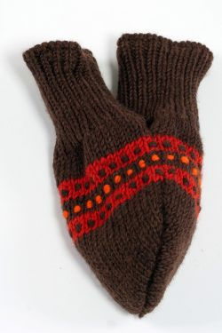 BROWN DARK ORANGE STEP LOVE MITTENS