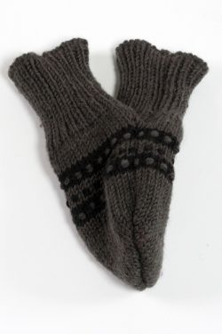 DARK GREY BLACK STEP LOVE MITTENS