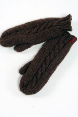 BROWN CABLE MITTENS