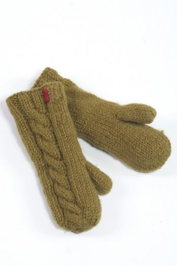 KHAKI CABLE MITTENS