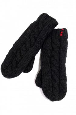 BLACK CABLE MITTENS