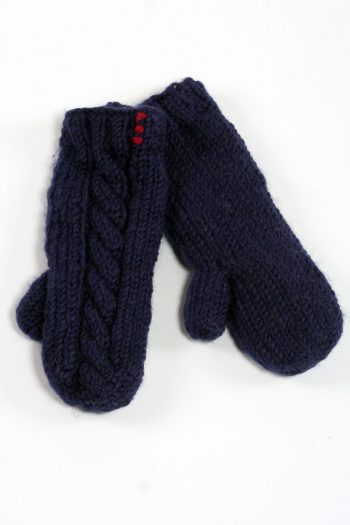 BLUE CABLE MITTENS