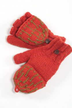 DARK ORANGE KHAKI SQUARE COVER MITTENS